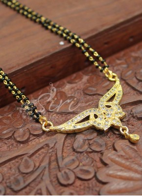 Black Beads Mangalsutra in AD Pendant