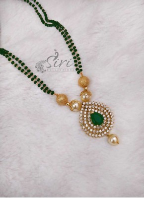 Black Beads Mangalsutra in AD Stone Pendant