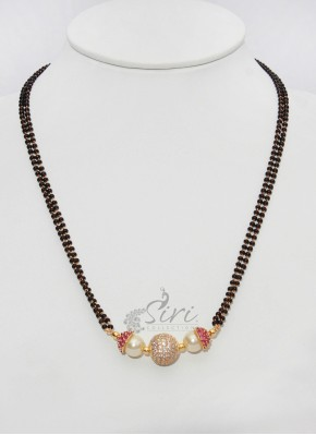 Black Beads Mangalsutra in AD stones Ball