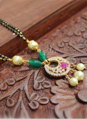 Black beads Mangalsutra in Cute AD Chand Baali Design Pendant