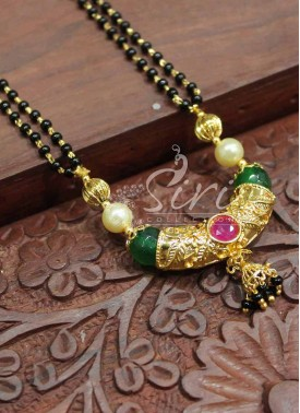 Black Beads Mangalsutra in Designer Pendant