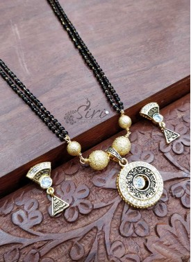 Black Beads Mangalsutra in Gold Micro Polish Pendant Set