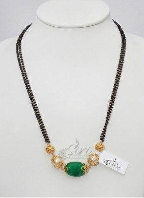 Black Beads Mangalsutra in green stone pendant
