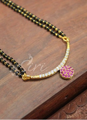 Black Beads Mangalsutra in Ruby AD Pendant