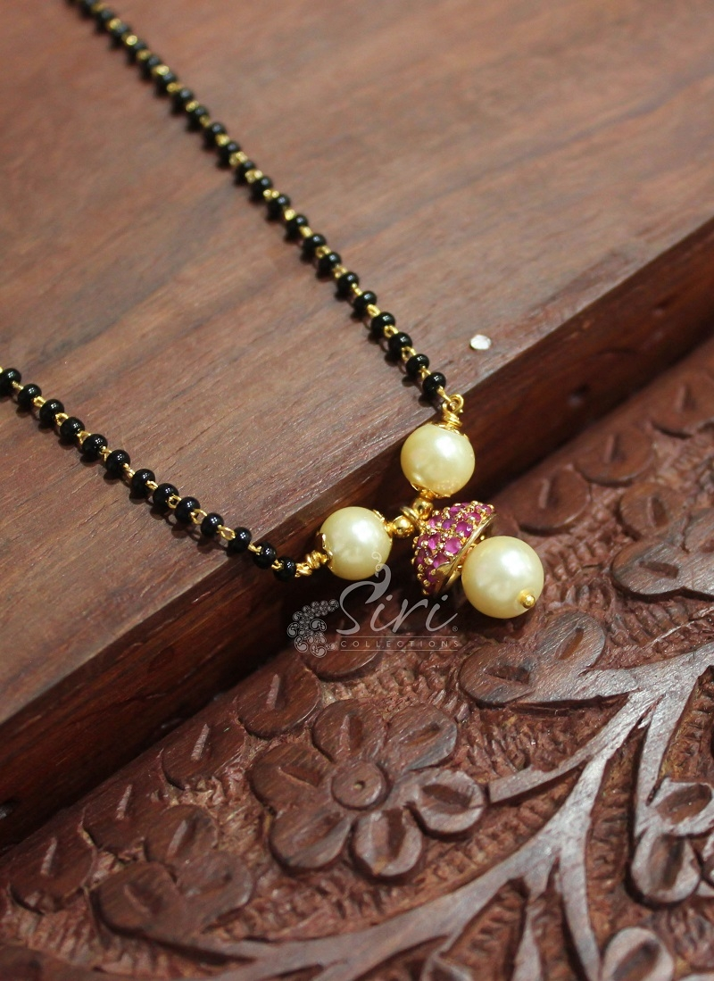 Black Beads Mangalsutra in Ruby Cap and Pearls
