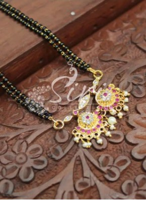 Black Beads Mangalsutra in Traditional AD Pendant