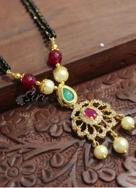 Black Beads Mangalsutra with Designer Ruby AD Stone Pendant