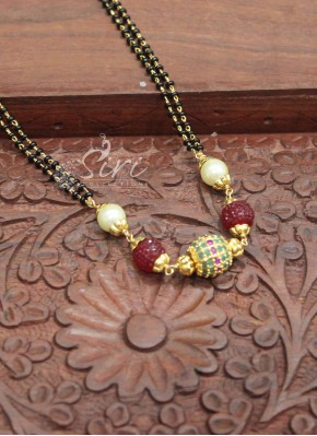 Black Beads Mangalsutra with Multi Stone Gold Plated Ball