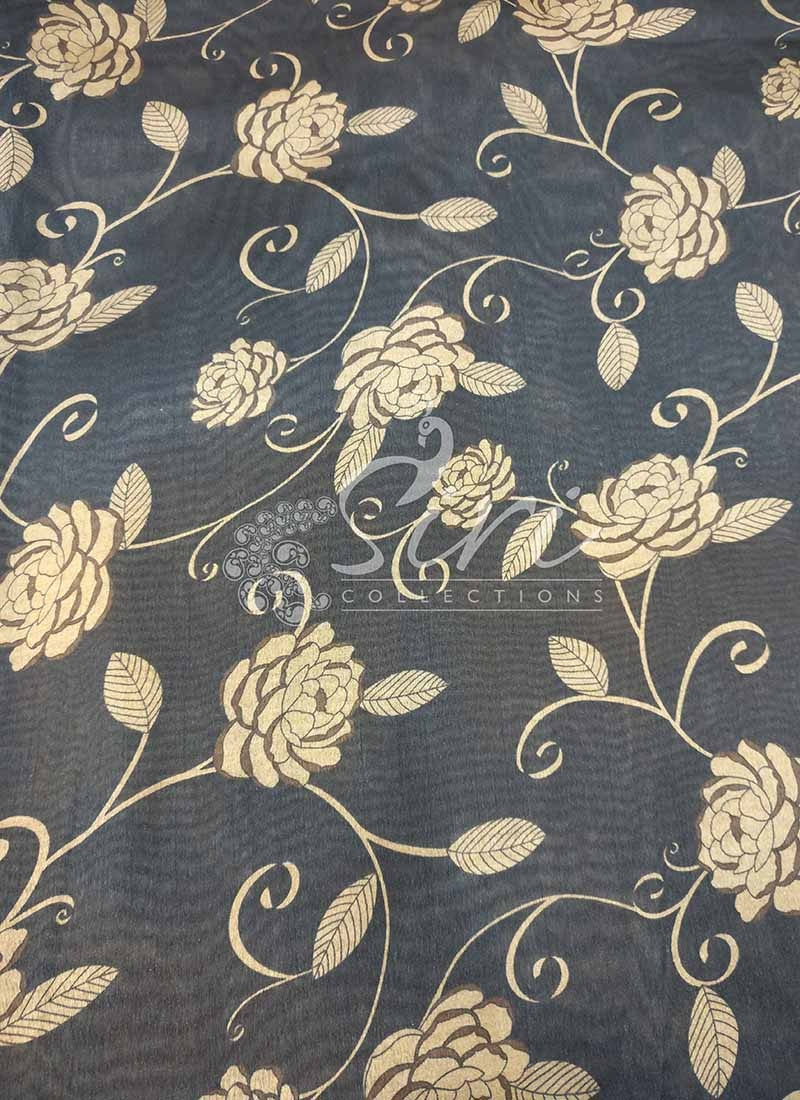 Black Beige Digital Print Zarna Silk Fabric Per Meter