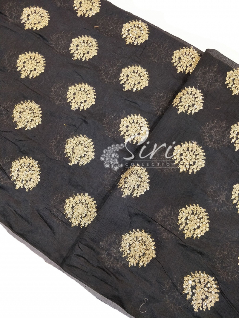Black Chanderi Fabric in Gold Embroidery Work Per Meter