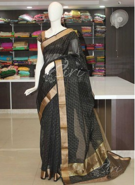 Black Chanderi Saree in Self Design