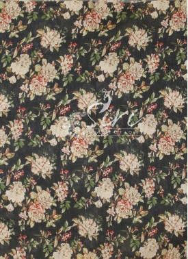 Black Chanderi Seico Fabric in Digital Print by Meter