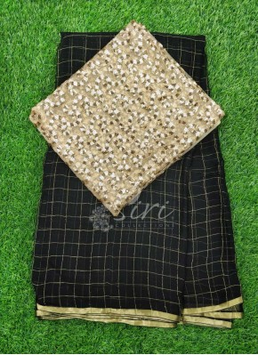 Black Chiffon Saree in Zari Checks With Designer Blouse Fabric