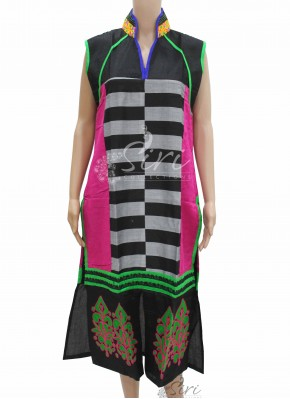 Black Colour Chanderi Silk Kurti with Collar