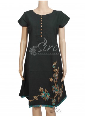 Black Colour Cotton Kurti with Embroidery Work