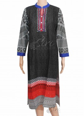 Black Colour Rayon Kurti with Collar