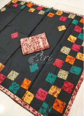 Black Cotton Saree in Applique Work
