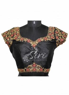 Black Dupion Silk Stitched Blouse with Heavy Embroidery Work