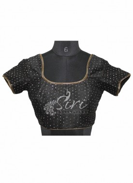 Black Dupion Silk Stitched Blouse with Sequins and Spring Work