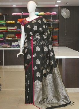 Black Fancy Banarasi Silk Saree in Silver Zari