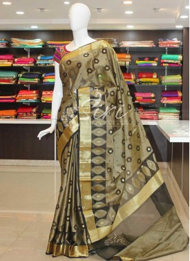 Black Fancy Cotton Silk Saree
