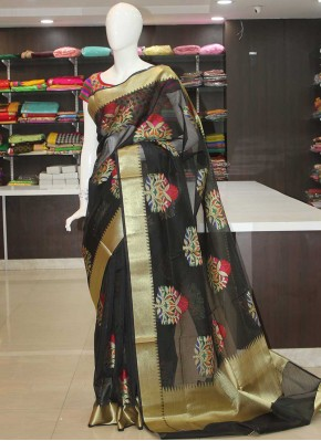 Black Fancy Kota Saree in Multi Colour Butis and Rich Pallu