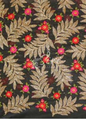 Black Georgette Fabric in Embroidery and Sequins Work by Meter