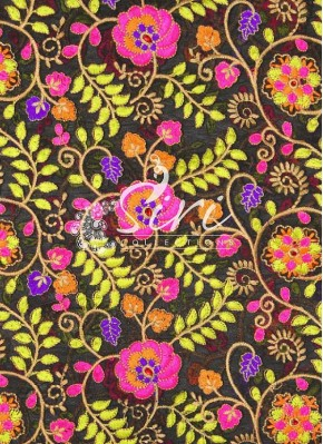 Black Georgette Fabric in Multi Colour Embroidery Work by Meter
