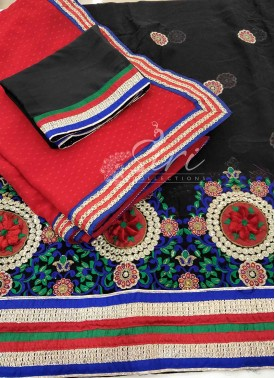 Black Georgette Unstitched Lehenga Blouse Red Dupatta Set