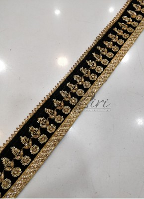 Black Gold Border Lace in Stone Work and Sequins Work