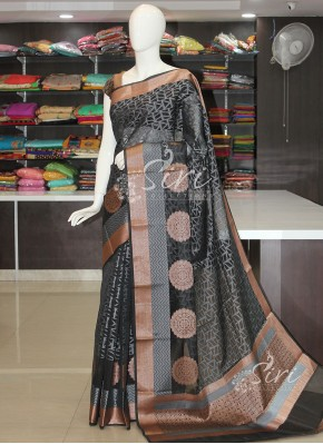 Black Grey Banarasi Fancy Cotton Silk Saree