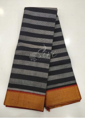 Black Grey Cotton Saree