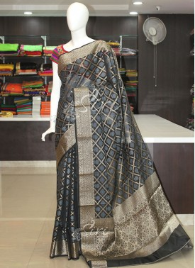Black Grey Cotton Silk Saree in Self Checks