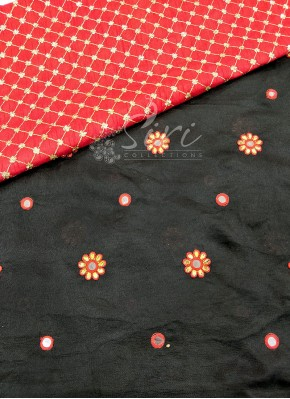 Black Jute Georgette Saree in Embroidery Work Flower Butis
