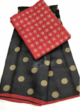 Black Jute Silk Saree in Self Polka Dots Weave