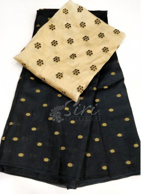 Black Jute Silk Saree in Self  Zari Polka Dots