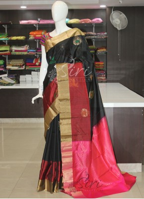 Black Maroon Pink Pure Light Weight Pattu Silk Saree