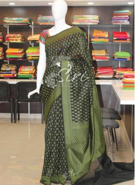 Black Mehendi Green Banarasi Fancy Cotton Silk Saree