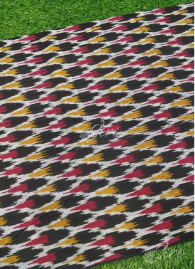 Black Multi Colour Ikat Cotton Fabric Per Meter