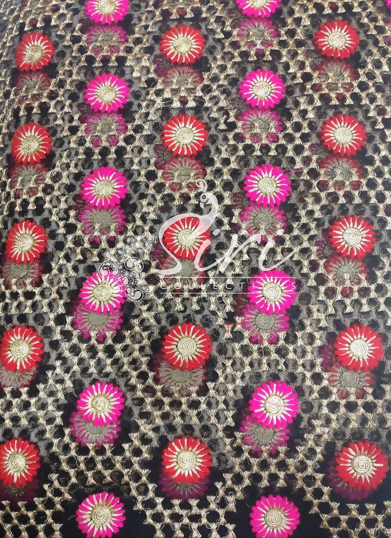 Black Net Fabric in Gold Pink Red Embroidery Work by Meter