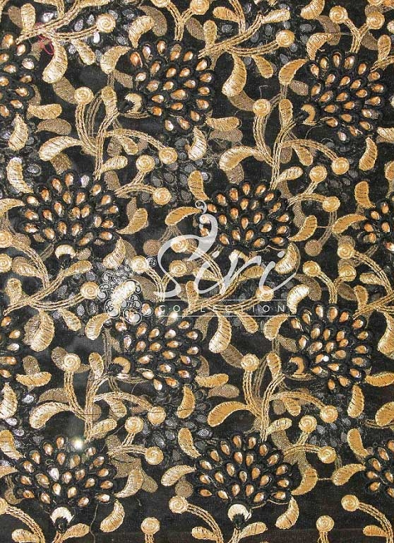 Black Net Fabric in Stone and Embroidery Work by Meter