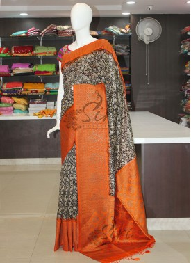 Black Orange Printed Fancy Banarasi Dupion Silk Saree