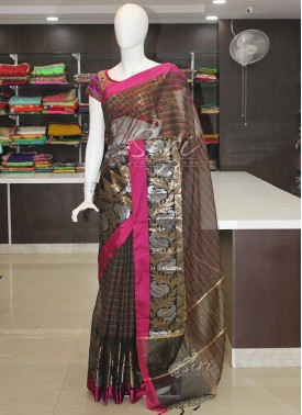 Black Pink Chanderi Saree in Silver and Gold Zari