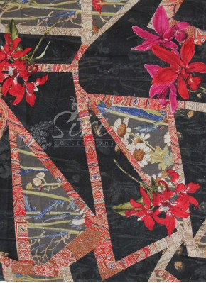 Black Printed Flowers Cotton Fabric By Meter