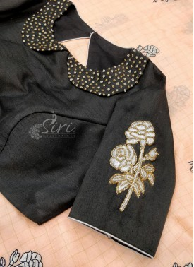 Black Raw Silk Blouse in HandWork