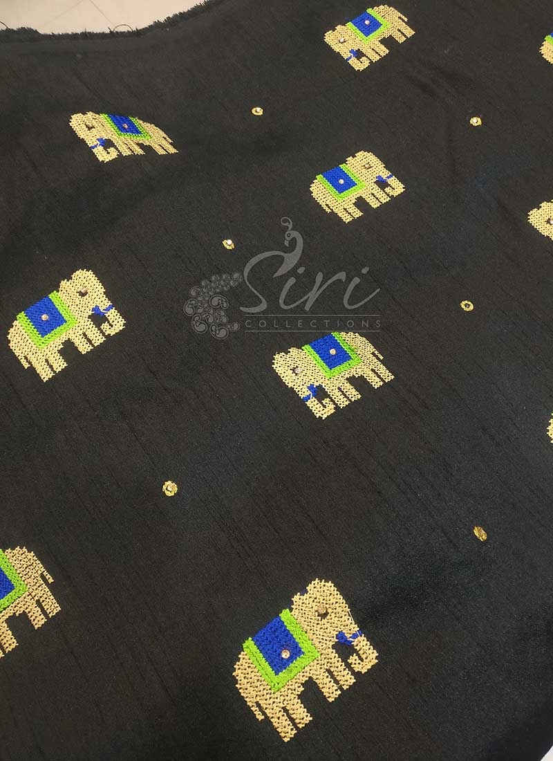 Black Raw Silk Fabric in Elephant Design Cross Stitch Embroidery Work Per Meter