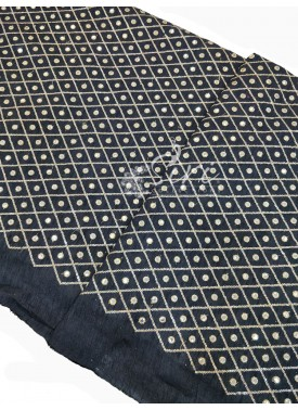Black Raw Silk Fabric in Embroidery and Fancy Mirr