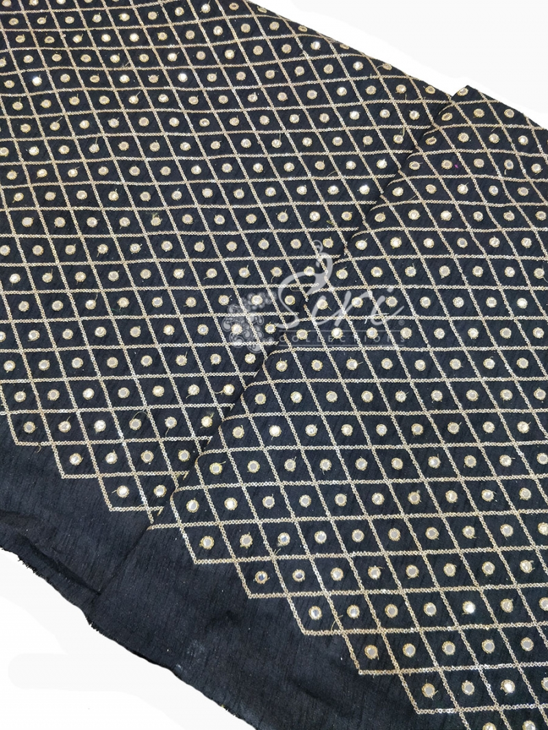 Black Raw Silk Fabric in Embroidery and Fancy Mirror Work Per Meter