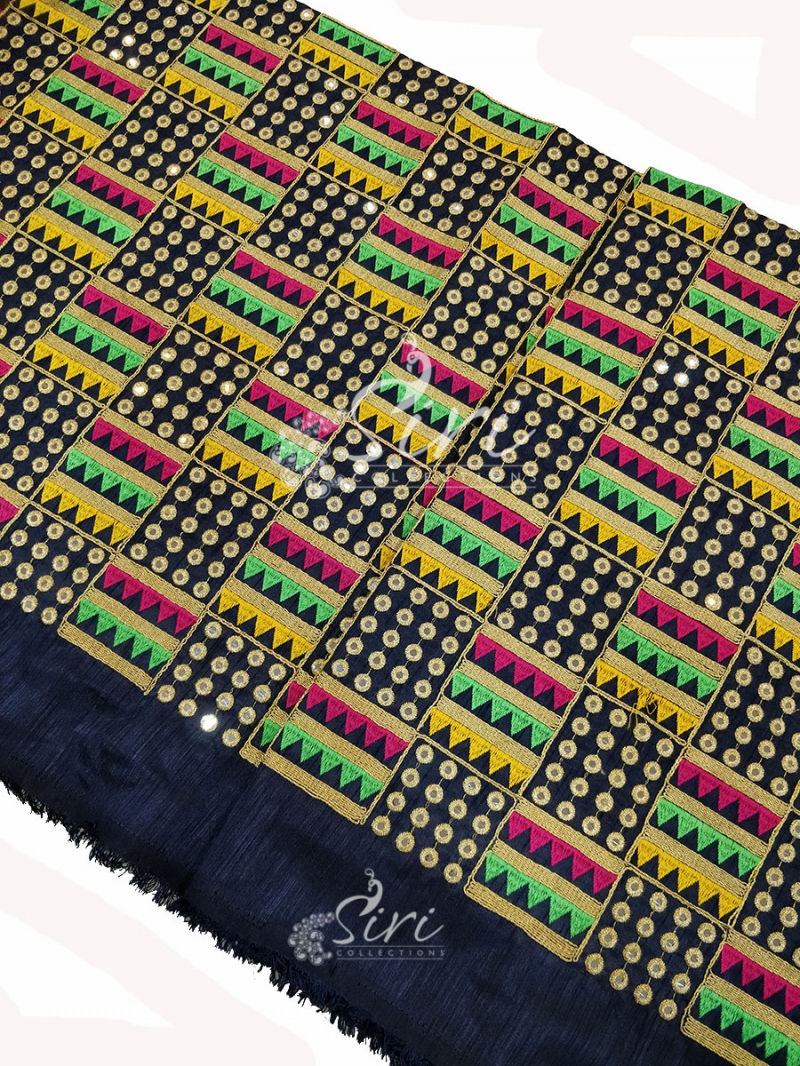 Navy Blue Raw Silk Fabric in Embroidery and Mirror Work Per Meter