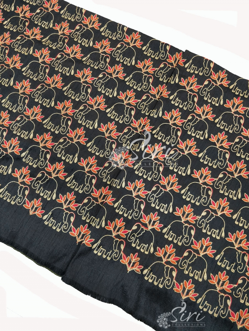 Black Raw Silk Fabric in Embroidery Work Per Meter